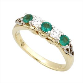 CZ and Emerald-Claddagh-Eternity-Gold-Ring-S2983