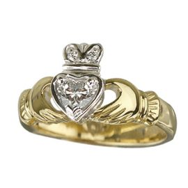18kt Yellow Gold Diamond Claddagh Ring S2502
