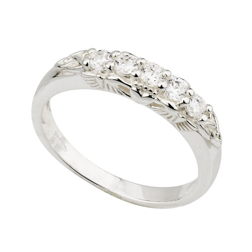 Claddagh Eternity Ring with Crystals Sterling Silver S2926