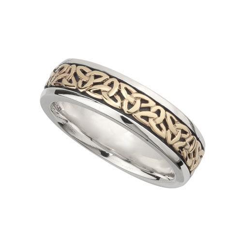 Ladies Trinity Knot Ring SS & 10kt Gold S21009
