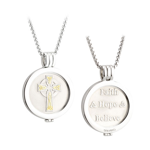 Celtic Cross Coin Pendant Rhodium & Gold Plated S45790