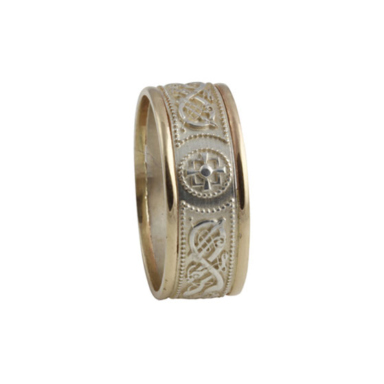 Celtic Warrior Shield Ring Large SS 10kt Gold KELGSCWL