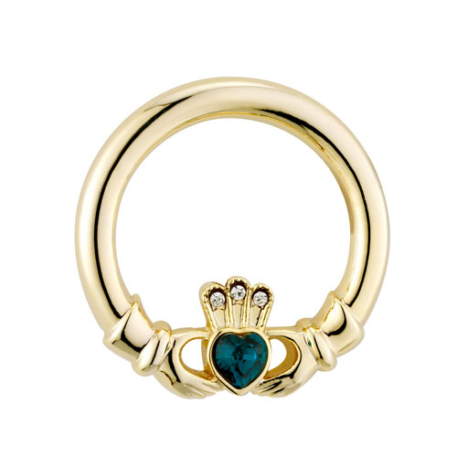 Claddagh Brooch with Crystals Gold Plated S1547