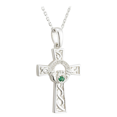 Claddagh Cross Pendant with Crystals Sterling Silver S45529