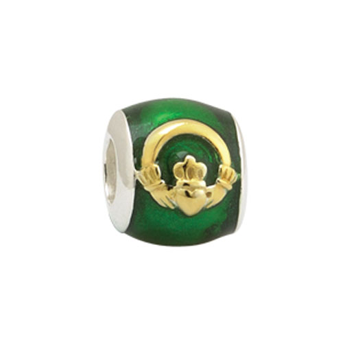 Claddagh Enamel Accent Bead Sterling Silver Gold Plated S80232