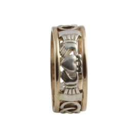 Claddagh Open Weave Ring Small SS 10kt Gold KELKN1S