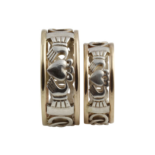 Claddagh Open Weave Rings SS 10kt Gold Matching Set