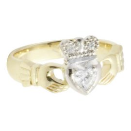 Claddagh Ring w Heart Solitaire Diamond 14kt Gold KELKC16