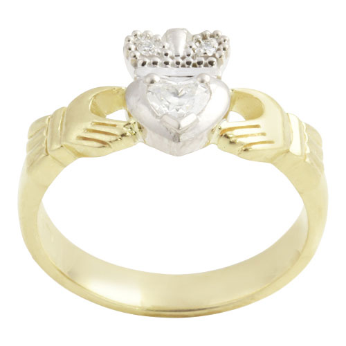 Claddagh Ring w Heart Solitaire Diamond 14kt Gold