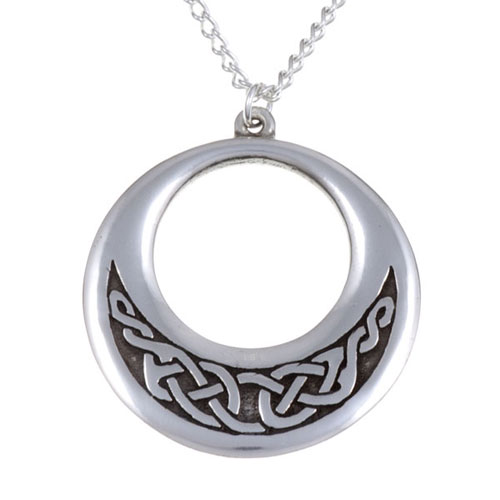 Creole Pendant with Embossed Celtic Design Pewter PN730