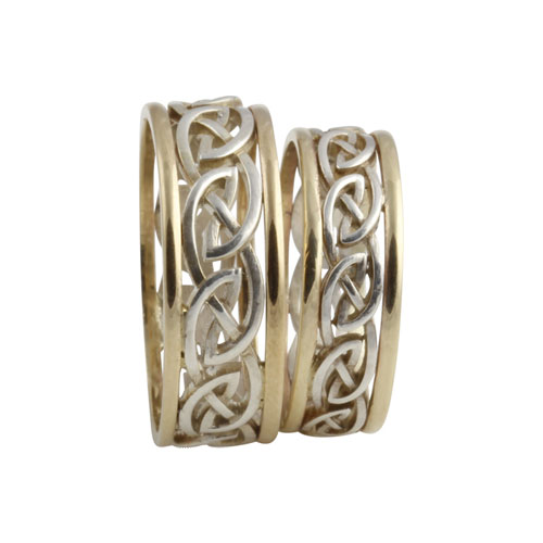 Eternal Celtic Knot Rings SS & 10kt Gold Matching Set