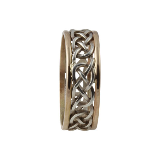 Infinity Celtic Knot Ring Large SS 10kt Gold KELGS1L