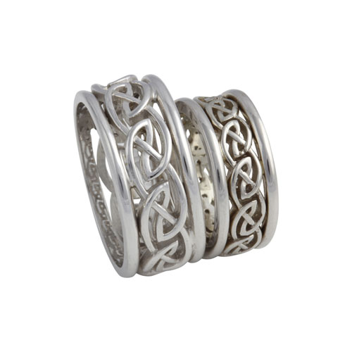 Open Weave Eternal Knot Ring w Rails 14kt Gold Set