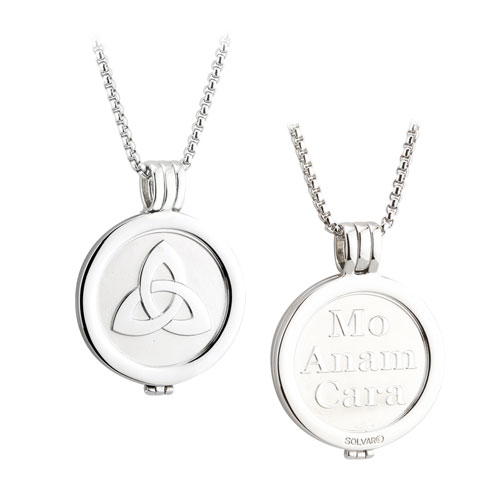 Trinity Knot Coin Pendant Rhodium Plated S45787