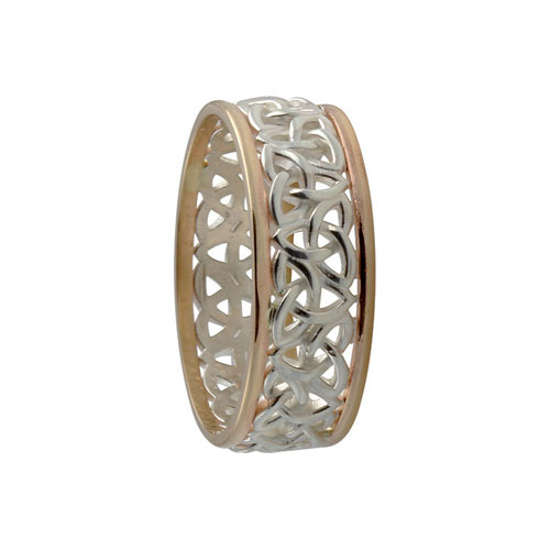 Trinity Knot Ring Small SS & 10kt Gold KELGS2S