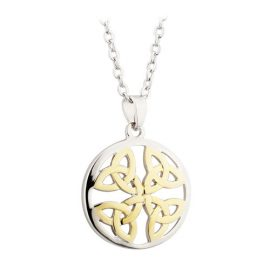 Trinity Knot Two Toned Circle Pendant Rhodium & Gold Plated S45677