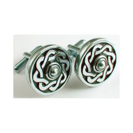 Celtic Knot Round Cufflinks Polished Pewter KCL9P