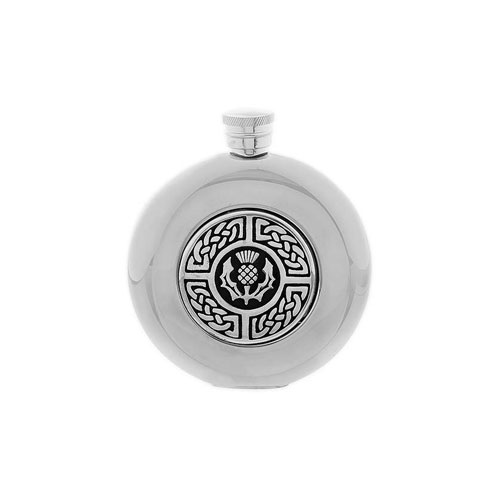 celtic-thistle-round-5oz-hip-flask-w-funnel-stainless-steel