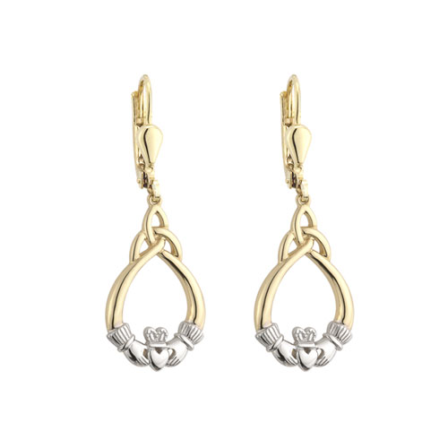 Claddagh Trinity Knot Drop Earrings Gold Plated S33190