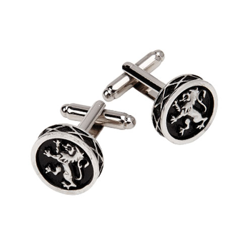 Lion Rampant Cufflinks Round Polished Pewter KCL37P