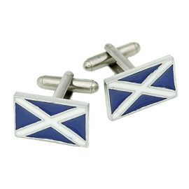 Saltire Cufflinks with Blue Enamel Pewter KCL3