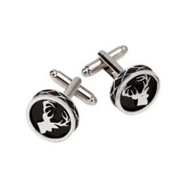 Stag Cufflinks Round Polished Pewter KCL35P