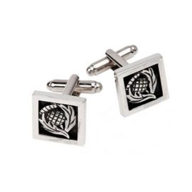 Thistle Cufflinks Square Polished Pewter KCL34P