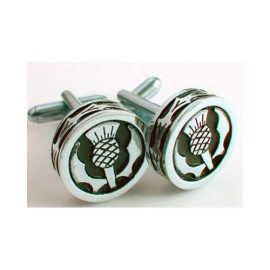Thistle Round Cufflinks Polished Pewter KCL7P