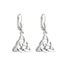 Trinity Knot with Circle Accent Drop Earrings Silver Plated S33384