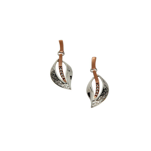 Trinity Leaf Earrings White Sapphire SS 10kt Rose Gold PEX8139WS